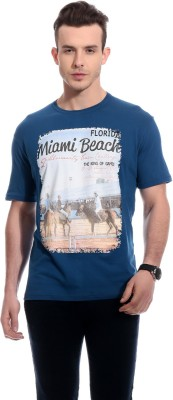 TAB91 Printed Men's Round Neck Blue T-Shirt