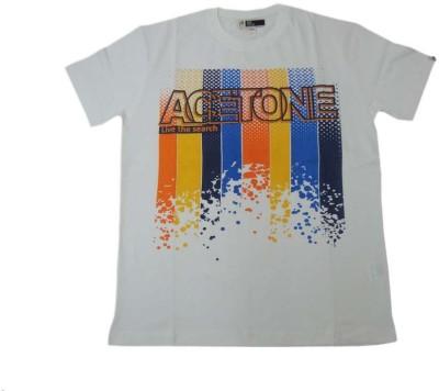 Acetone Solid Men's Round Neck White T-Shirt