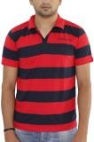Grey Tree Striped Men's Polo Neck Red T-...