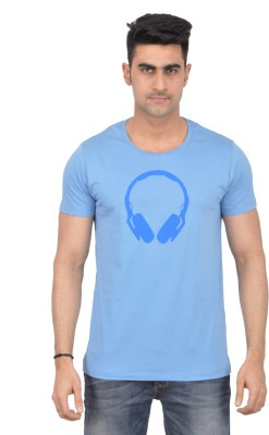 Grapefruit Florida Printed Men's Round Neck Light Blue T-Shirt