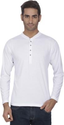 eSOUL Solid Men's Henley White T-Shirt