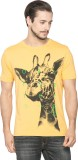Spykar Printed Men's Round Neck Yellow T...