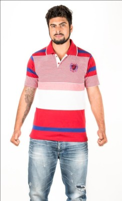 Navya Creations Printed Men's Polo Neck Red T-Shirt