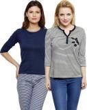Limeberry Striped Women's V-neck Grey, D...