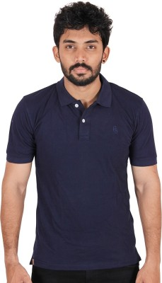 CHAGGIT Solid Men's Polo Neck Dark Blue T-Shirt