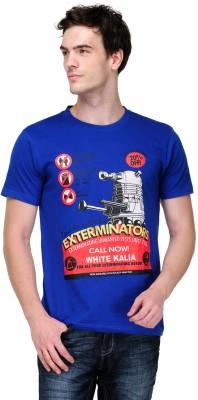 White Kalia Graphic Print Men,s Round Neck Blue T-Shirt