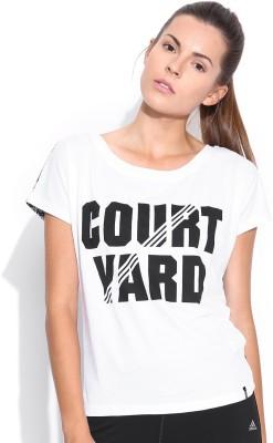 Adidas NEO Printed Women's Round Neck White T-Shirt