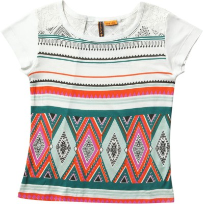 SuperYoung Printed Girl's Round Neck White T-Shirt