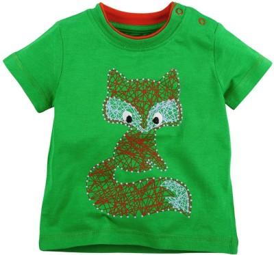 Babyoye Printed Boy's Round Neck Green T-Shirt