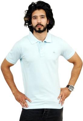 Men In Class Self Design Men's Polo Neck Blue T-Shirt