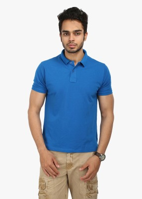 Wear Your Mind Solid Men's Polo Neck Blue T-Shirt