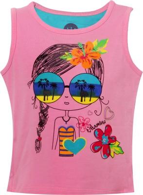 Vitamins Graphic Print Baby Girl's Round Neck Pink T-Shirt