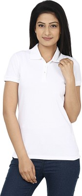 Wills Lifestyle Solid Women's Polo White T-Shirt