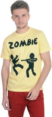 Algotton Printed Men,s Round Neck Yellow T-Shirt