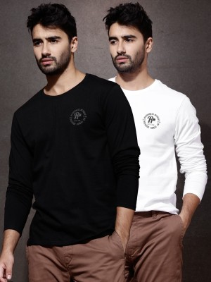 Roadster Solid Men's Round Neck Black T-Shirt