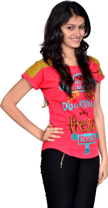 Gee & Bee Printed Women's Round Neck Red T-Shirt