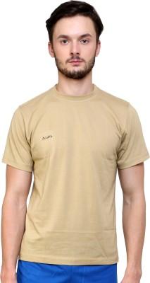 Dida Sportswear Solid Men's Round Neck Beige T-Shirt