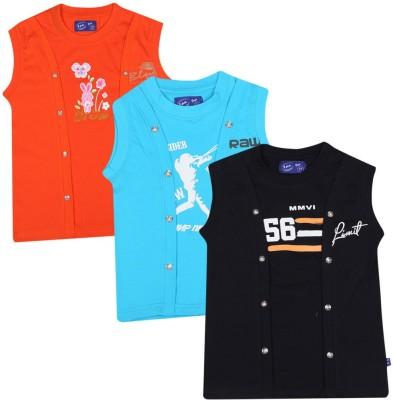 SPN Garments Printed Girl,s Round Neck Orange, Blue, Black T-Shirt