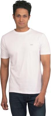 Moxi Solid Men's Round Neck White T-Shirt