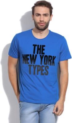 Arrow Newyork Printed Men's Round Neck Blue T-Shirt