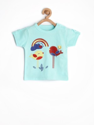 Yellow Kite Printed Baby Girl's Round Neck T-Shirt