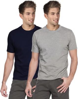 Blackburne Inc Solid Men's Round Neck Dark Blue, Grey T-Shirt