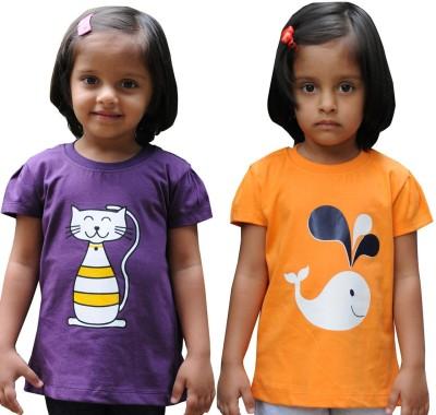 Snowflakes Solid Girl's Round Neck Purple, Orange T-Shirt