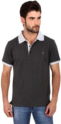 Attabouy Solid Men's Polo Neck Black T-Shirt