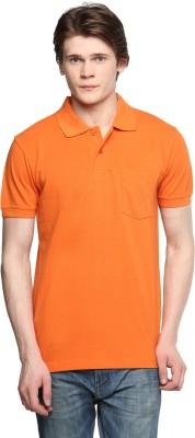 Tempt Solid Men's Polo Neck Orange T-Shirt