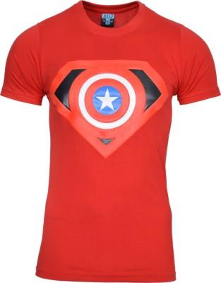 Mangoman Printed Men's Round Neck Red T-Shirt