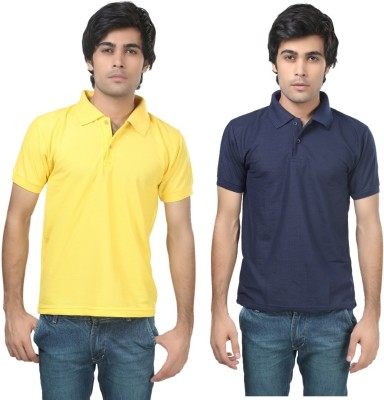 Stylish Trotters Solid Men's Polo Yellow, Dark Blue T-Shirt