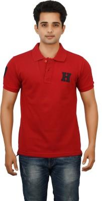 Huntler Self Design Men's Polo Neck Red T-Shirt