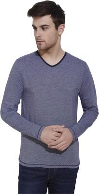 Slub By INMARK Solid Men's V-neck Dark Blue T-Shirt