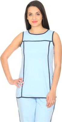 Rute Solid Women's Round Neck Light Blue T-Shirt