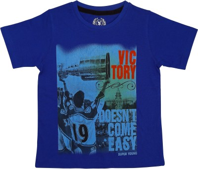 SuperYoung Graphic Print Boy's Round Neck Blue T-Shirt
