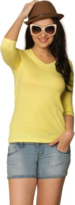 Miss Chase Solid Women's V-neck Yellow T-Shirt