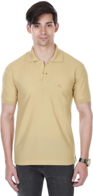 Cotton County Premium Solid Men's Flap Collar Neck Beige T-Shirt