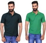 Ave Solid Men's Polo Neck Dark Green, Li...