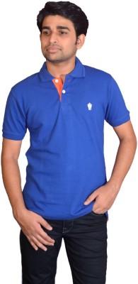 Friends United Solid Men's Polo Neck Blue T-Shirt