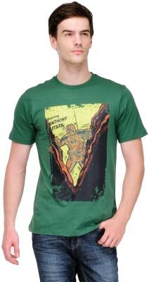 White Kalia Graphic Print Men,s Round Neck Green T-Shirt