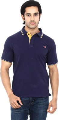 STACKIA Solid Men's Polo Neck Dark Blue T-Shirt