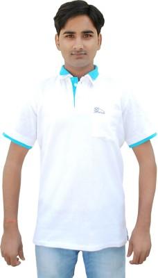 Khadi Natural Solid Men's Polo Neck White, Blue T-Shirt