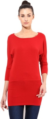 T-shirt Company Solid Women's Round Neck Red T-Shirt