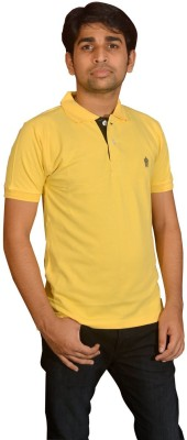 Friends United Solid Men's Polo Neck Yellow T-Shirt