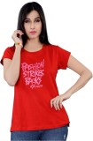 Mint Solid Women's Round Neck Red T-Shir...