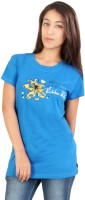 Red Rose Women's Clothing - Red Rose Printed Women's Round Neck Blue T-Shirt