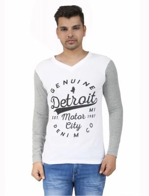 Scorpio Fashion Printed Men's V-neck White, Grey T-Shirt