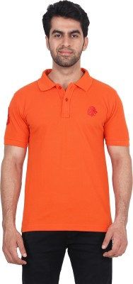 Fashcom Solid Men's Polo Orange, Red T-Shirt