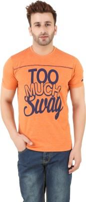 Spunk Printed Men's Round Neck Orange T-Shirt