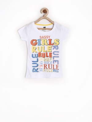 Yellow Kite Printed Girl's Round Neck T-Shirt